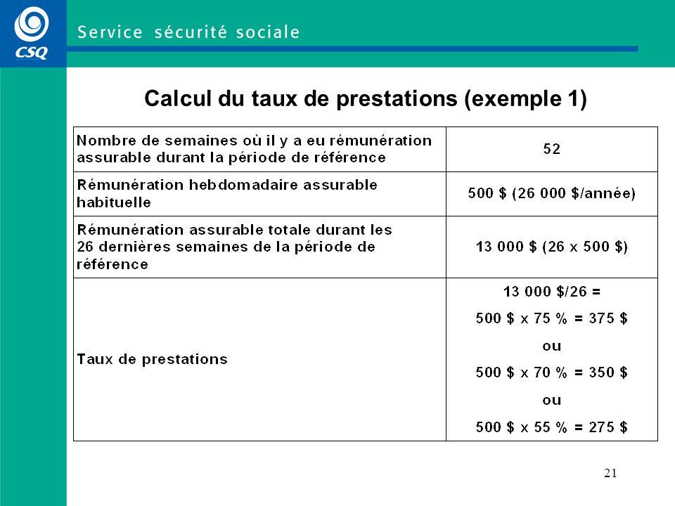 19 Calcul du revenu hebdomadaire moyen (article 21 de la LAP) Le revenu hebdomadaire moyen est le montant à partir duquel sera calculé le taux de prestations hebdomadaires (75 %, 70 % ou 55 %, selon le cas).