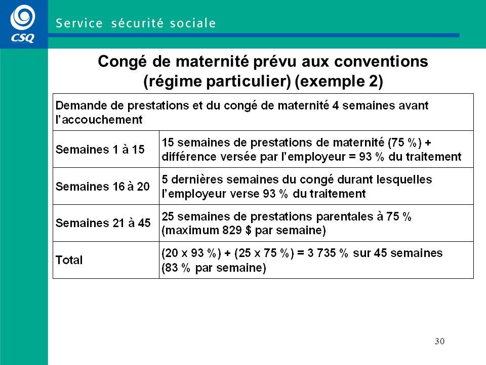 28 Congé de maternité prévu aux conventions collectives (cas admissibles au RQAP) (sous réserve des résultats de la négociation) La personne doit avoir au moins 20 semaines de service et être admissible aux prestations du RQAP.