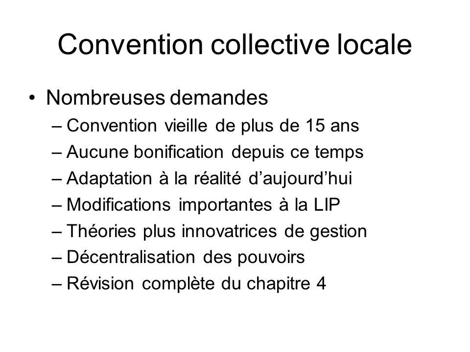 Convention collective locale Nombreuses demandes –Convention vieille de plus de 15 ans –Aucune bonification depuis ce temps –Adaptation à la réalité d
