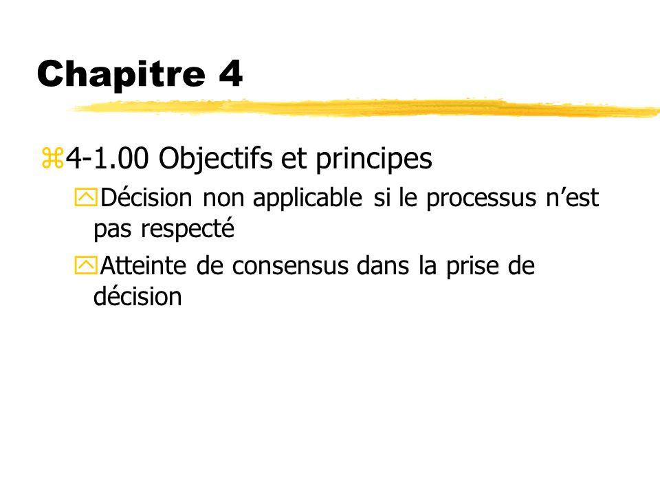 Chapitre 4 z4-1.00 Objectifs et principes yDécision non applicable si le processus nest pas respecté yAtteinte de consensus dans la prise de décision