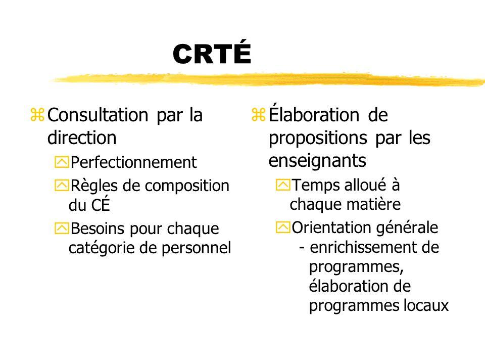 CRTÉ zConsultation par la direction yPerfectionnement yRègles de composition du CÉ yBesoins pour chaque catégorie de personnel z Élaboration de propos