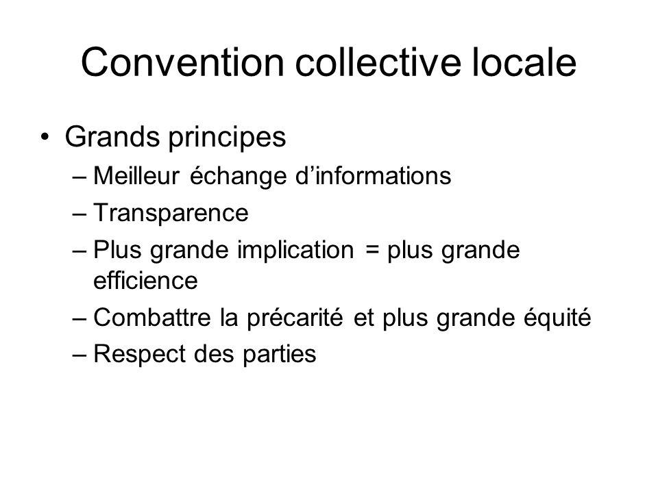 Convention collective locale Grands principes –Meilleur échange dinformations –Transparence –Plus grande implication = plus grande efficience –Combatt