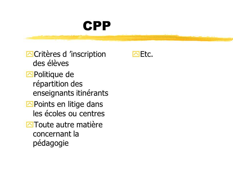 CPP yCritères d inscription des élèves yPolitique de répartition des enseignants itinérants yPoints en litige dans les écoles ou centres yToute autre
