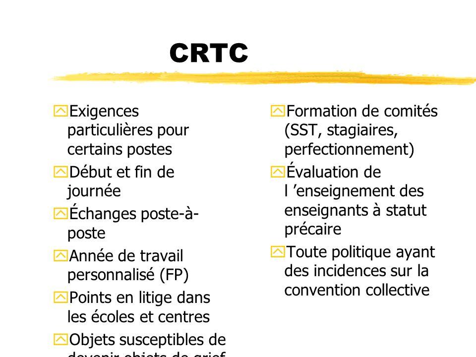 CRTC yExigences particulières pour certains postes yDébut et fin de journée yÉchanges poste-à- poste yAnnée de travail personnalisé (FP) yPoints en li