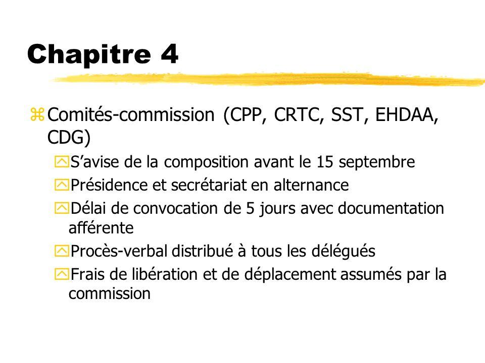 Chapitre 4 zComités-commission (CPP, CRTC, SST, EHDAA, CDG) ySavise de la composition avant le 15 septembre yPrésidence et secrétariat en alternance y