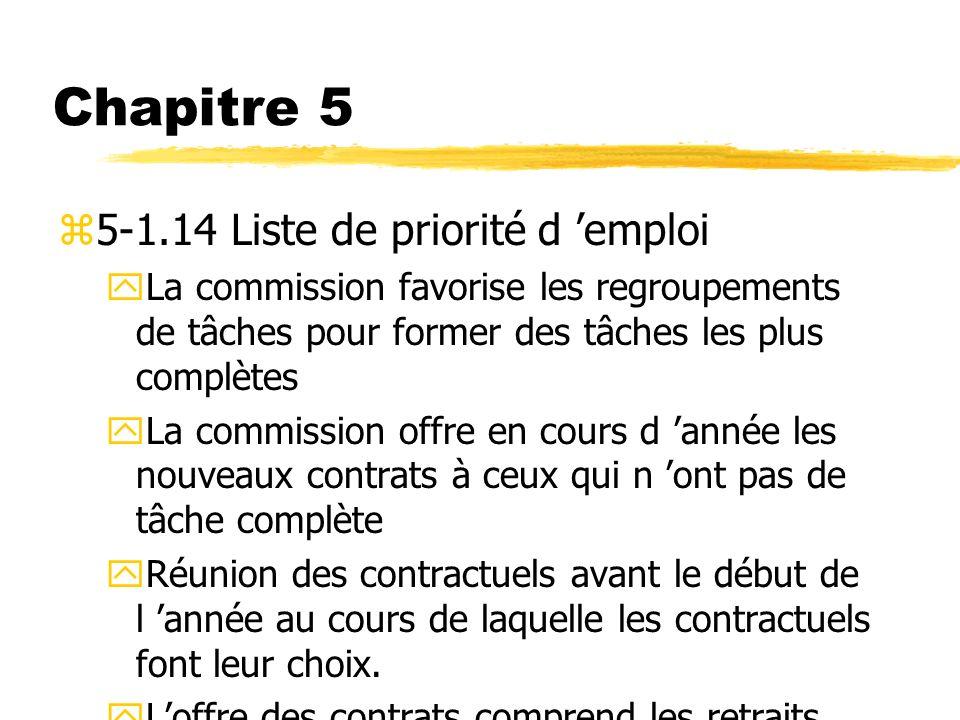 Chapitre 5 z5-1.14 Liste de priorité d emploi yLa commission favorise les regroupements de tâches pour former des tâches les plus complètes yLa commis