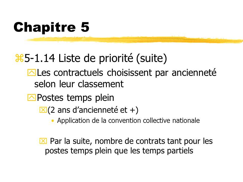 Chapitre 5 z5-1.14 Liste de priorité (suite) yLes contractuels choisissent par ancienneté selon leur classement yPostes temps plein x(2 ans danciennet