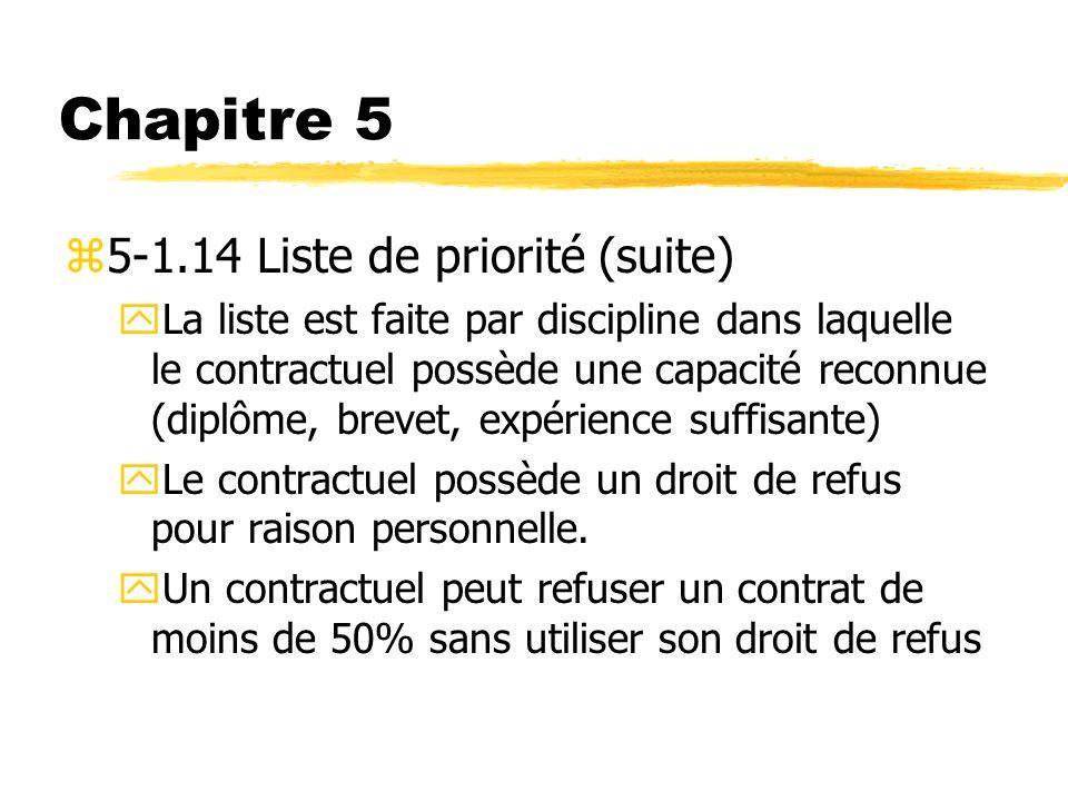 Chapitre 5 z5-1.14 Liste de priorité (suite) yLa liste est faite par discipline dans laquelle le contractuel possède une capacité reconnue (diplôme, b