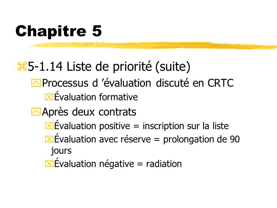 Chapitre 5 z5-1.14 Liste de priorité (suite) yProcessus d évaluation discuté en CRTC xÉvaluation formative yAprès deux contrats xÉvaluation positive =