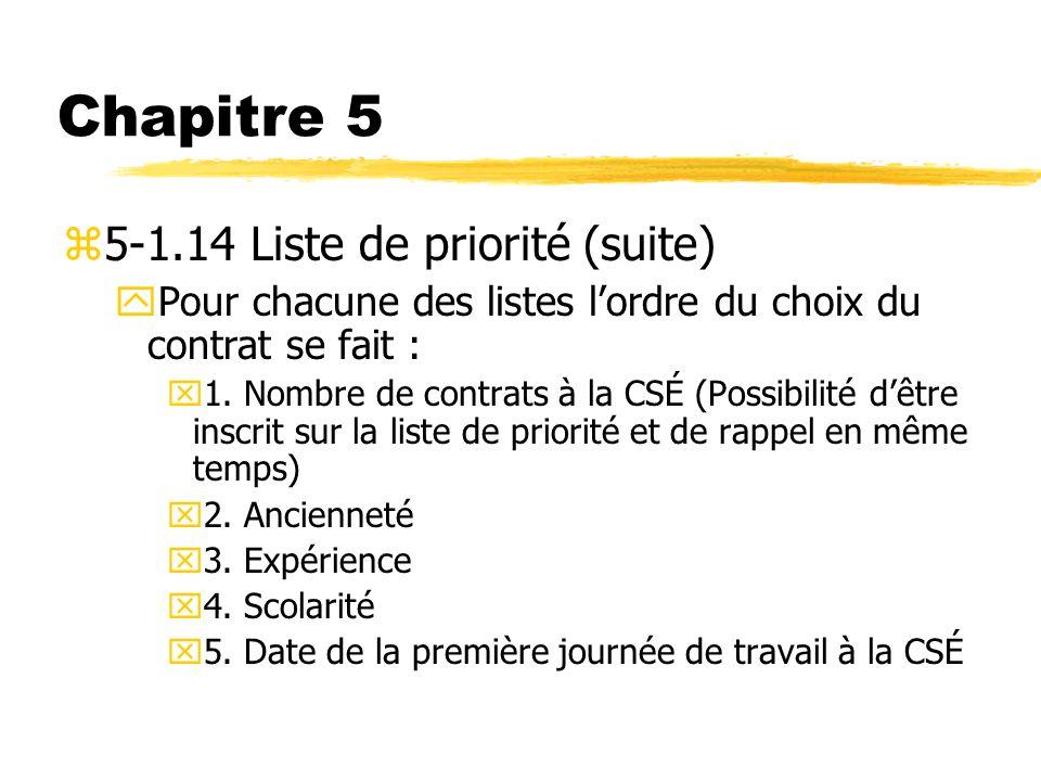 Chapitre 5 z5-1.14 Liste de priorité (suite) yPour chacune des listes lordre du choix du contrat se fait : x1. Nombre de contrats à la CSÉ (Possibilit