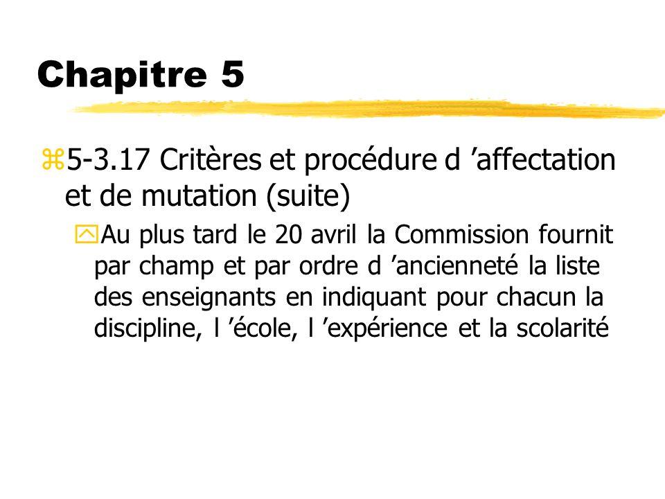 Chapitre 5 z5-3.17 Critères et procédure d affectation et de mutation (suite) yAu plus tard le 20 avril la Commission fournit par champ et par ordre d