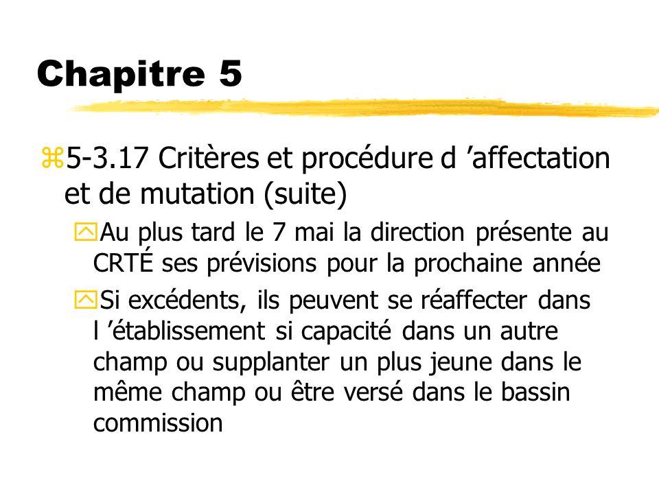 Chapitre 5 z5-3.17 Critères et procédure d affectation et de mutation (suite) yAu plus tard le 7 mai la direction présente au CRTÉ ses prévisions pour