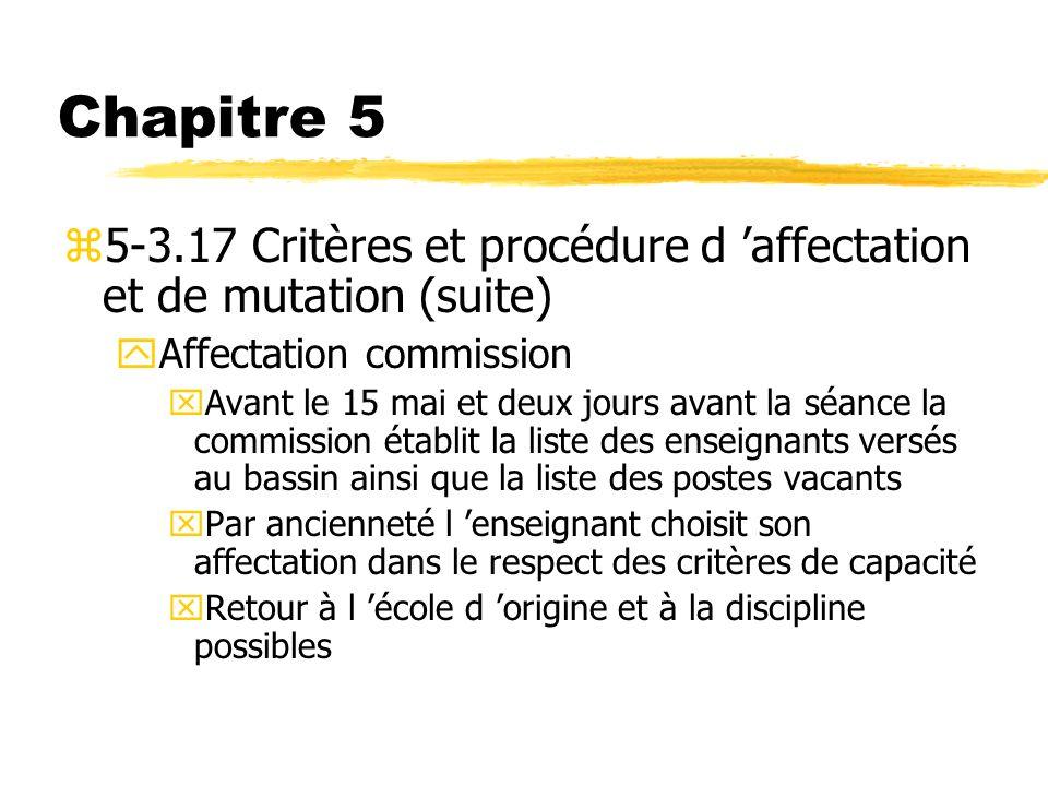 Chapitre 5 z5-3.17 Critères et procédure d affectation et de mutation (suite) yAffectation commission xAvant le 15 mai et deux jours avant la séance l