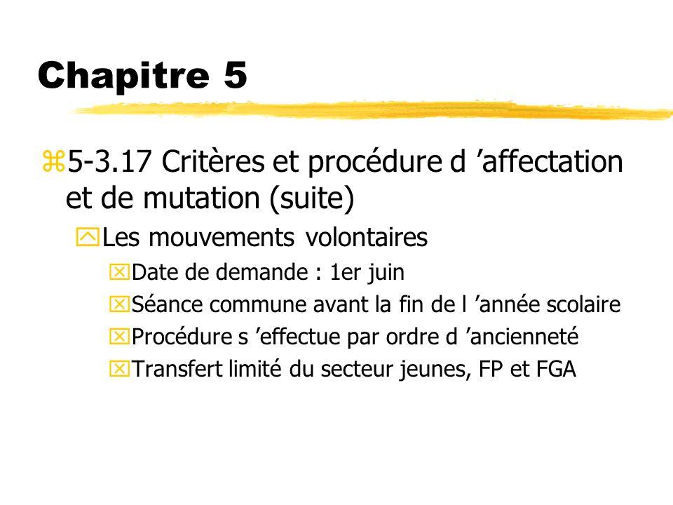 Chapitre 5 z5-3.17 Critères et procédure d affectation et de mutation (suite) yLes mouvements volontaires xDate de demande : 1er juin xSéance commune