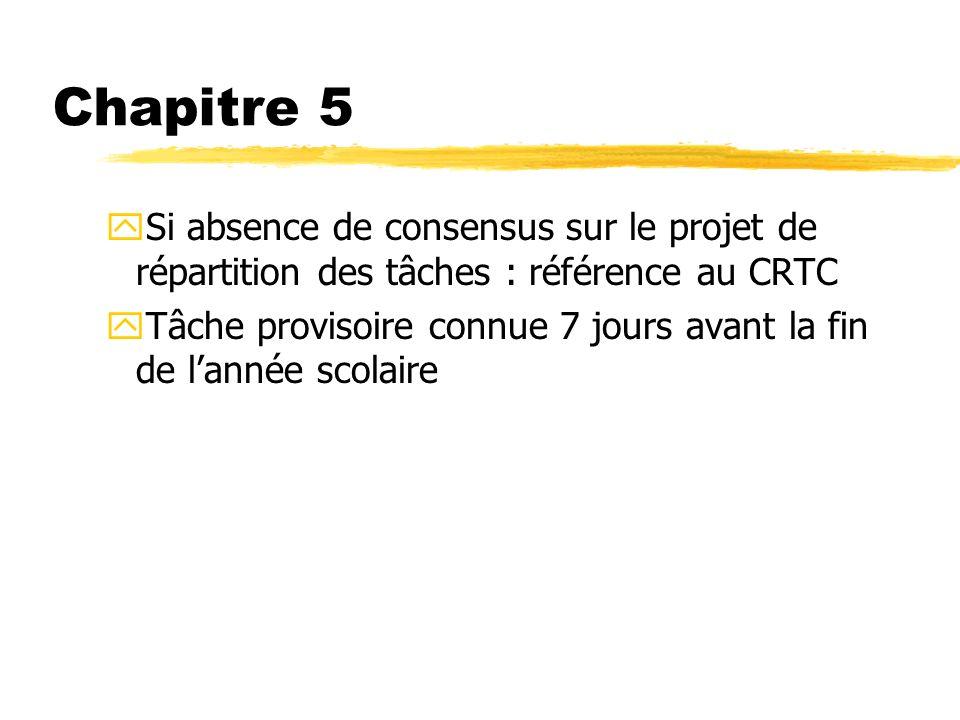 Chapitre 5 ySi absence de consensus sur le projet de répartition des tâches : référence au CRTC yTâche provisoire connue 7 jours avant la fin de lanné