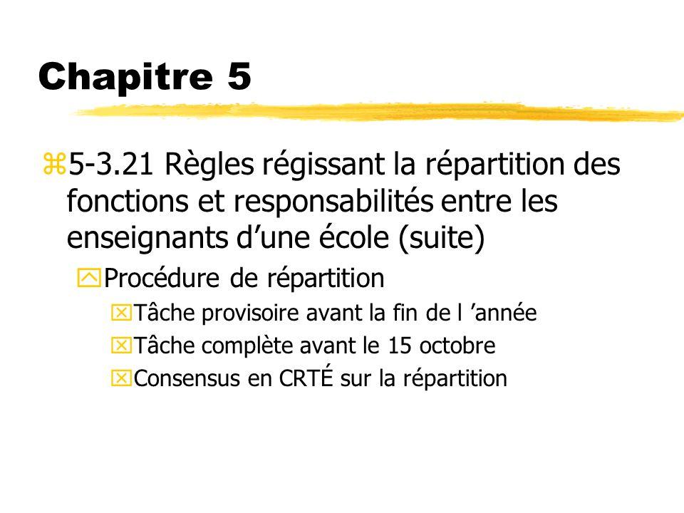 Chapitre 5 z5-3.21 Règles régissant la répartition des fonctions et responsabilités entre les enseignants dune école (suite) yProcédure de répartition