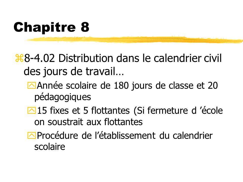Chapitre 8 z8-4.02 Distribution dans le calendrier civil des jours de travail… yAnnée scolaire de 180 jours de classe et 20 pédagogiques y15 fixes et