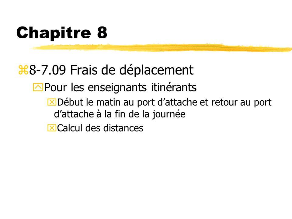 Chapitre 8 z8-7.09 Frais de déplacement yPour les enseignants itinérants xDébut le matin au port dattache et retour au port dattache à la fin de la jo