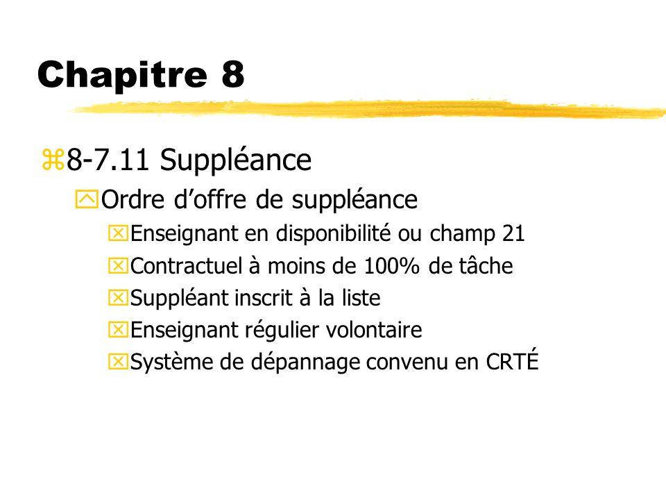 Chapitre 8 z8-7.11 Suppléance yOrdre doffre de suppléance xEnseignant en disponibilité ou champ 21 xContractuel à moins de 100% de tâche xSuppléant in