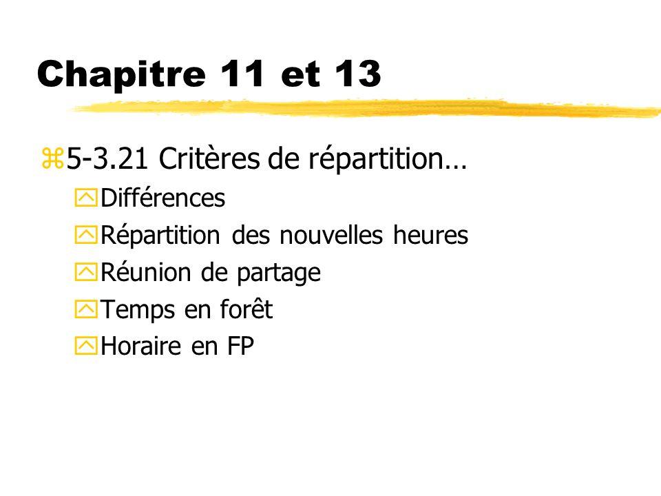 Chapitre 11 et 13 z5-3.21 Critères de répartition… yDifférences yRépartition des nouvelles heures yRéunion de partage yTemps en forêt yHoraire en FP