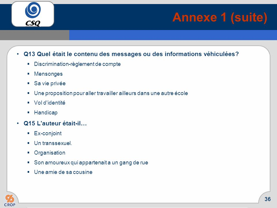 35 Annexe 1 (suite) Liste des mentions « autres » aux questions ouvertes Q8 S'agissait-il … une connaissance personnelle une organisation un ex-conjoi