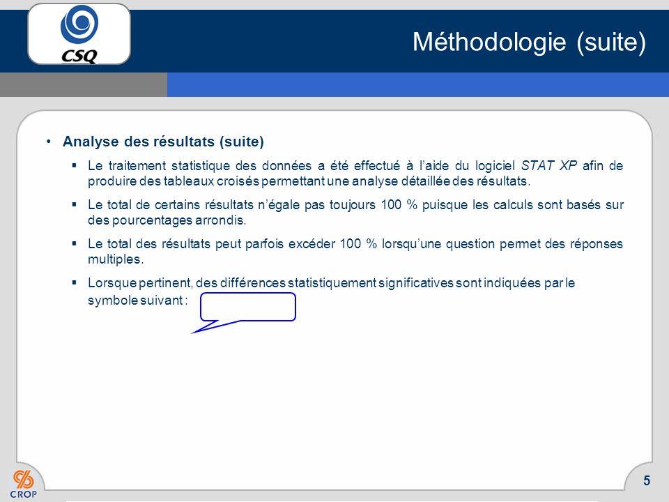 4 Méthodologie (suite) Analyse des résultats Après la collecte de données, les résultats ont été compilés et pondérés sur la base de la population de