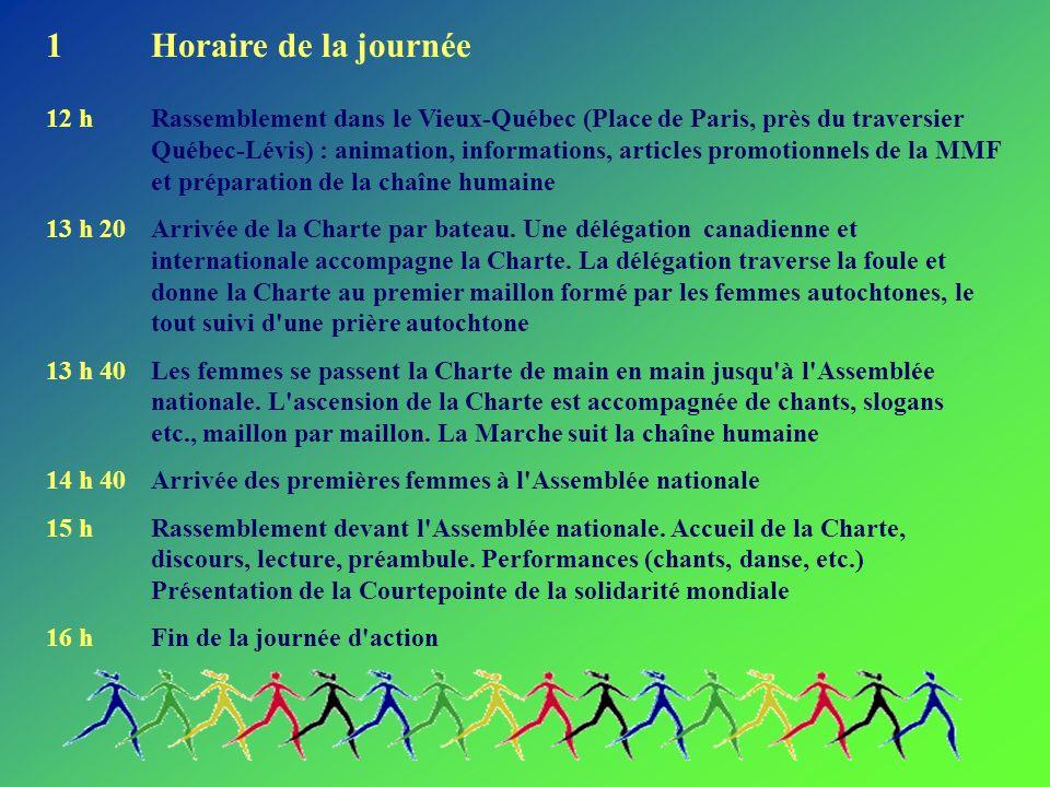 1Horaire de la journée 12 hRassemblement dans le Vieux-Québec (Place de Paris, près du traversier Québec-Lévis) : animation, informations, articles promotionnels de la MMF et préparation de la chaîne humaine 13 h 20Arrivée de la Charte par bateau.