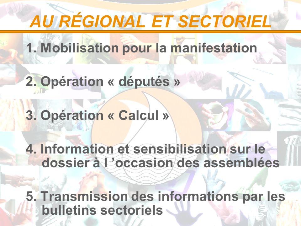AU RÉGIONAL ET SECTORIEL 1. Mobilisation pour la manifestation 2. Opération « députés » 3. Opération « Calcul » 4. Information et sensibilisation sur