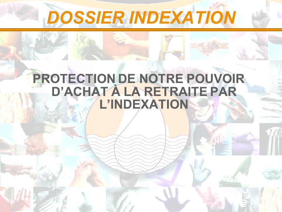 DOSSIER INDEXATION PROTECTION DE NOTRE POUVOIR DACHAT À LA RETRAITE PAR LINDEXATION