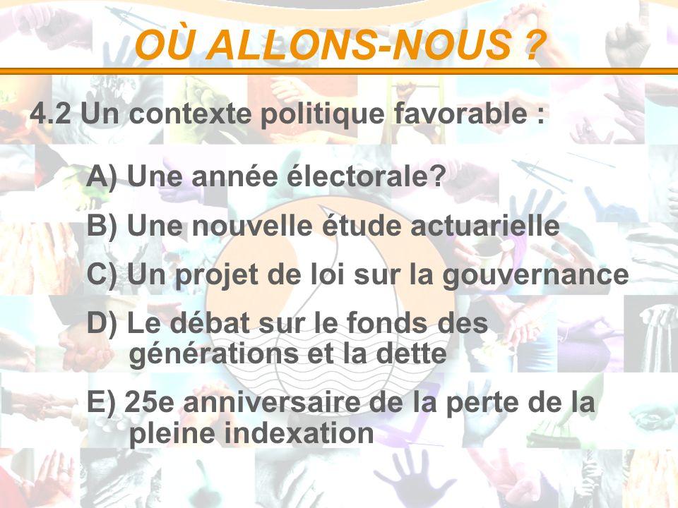 OÙ ALLONS-NOUS ? 4.2 Un contexte politique favorable : A) Une année électorale? B) Une nouvelle étude actuarielle C) Un projet de loi sur la gouvernan