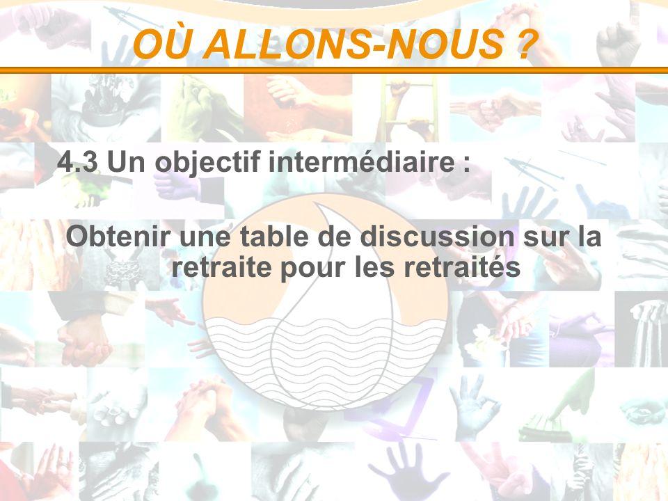 OÙ ALLONS-NOUS ? 4.3 Un objectif intermédiaire : Obtenir une table de discussion sur la retraite pour les retraités