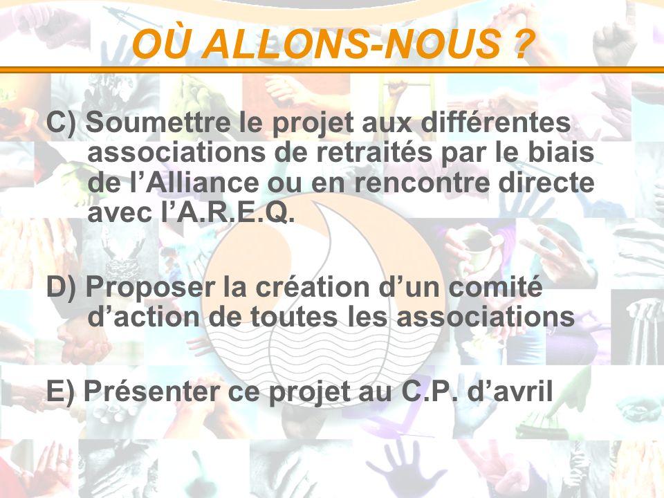 OÙ ALLONS-NOUS ? C) Soumettre le projet aux différentes associations de retraités par le biais de lAlliance ou en rencontre directe avec lA.R.E.Q. D)