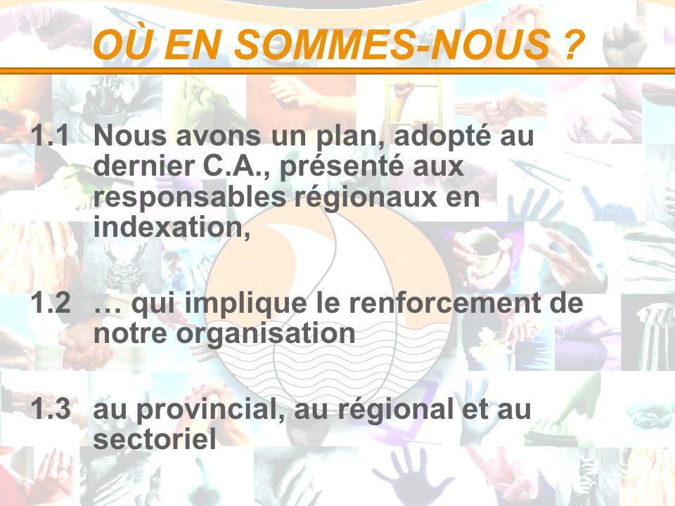 OÙ EN SOMMES-NOUS ? 1.1 Nous avons un plan, adopté au dernier C.A., présenté aux responsables régionaux en indexation, 1.2 … qui implique le renforcem