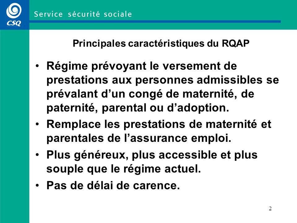 2 Principales caractéristiques du RQAP Régime prévoyant le versement de prestations aux personnes admissibles se prévalant dun congé de maternité, de paternité, parental ou dadoption.