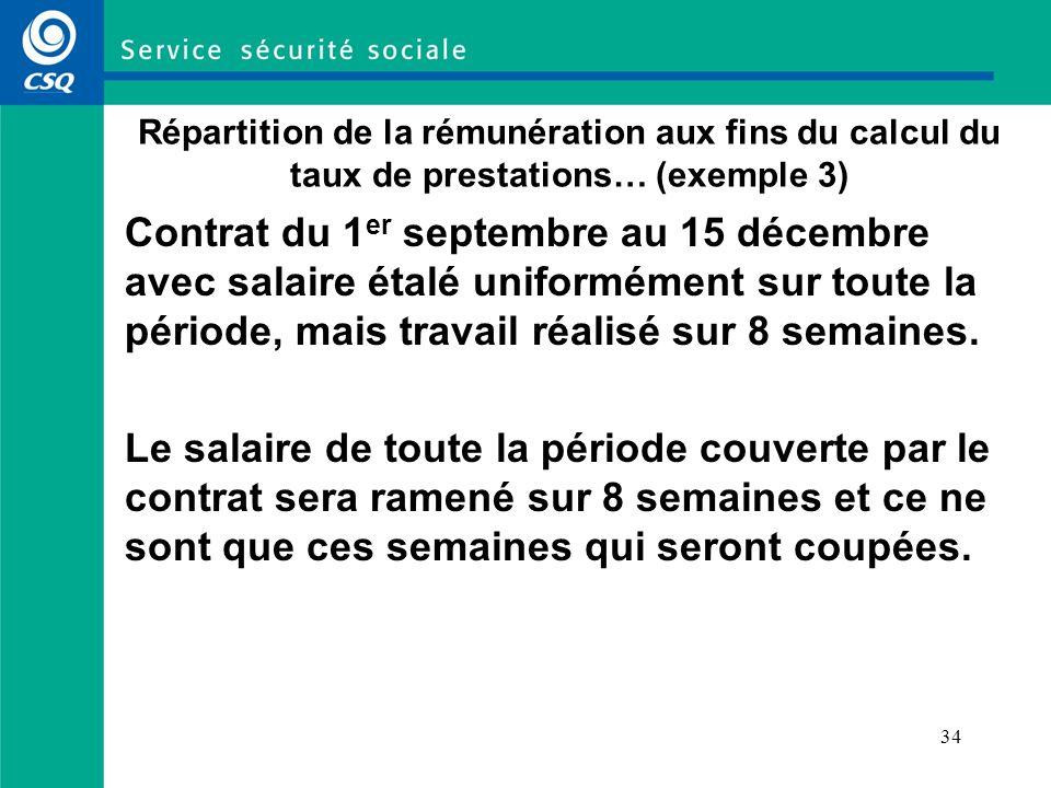 34 Répartition de la rémunération aux fins du calcul du taux de prestations… (exemple 3) Contrat du 1 er septembre au 15 décembre avec salaire étalé uniformément sur toute la période, mais travail réalisé sur 8 semaines.