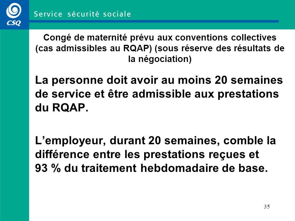 35 Congé de maternité prévu aux conventions collectives (cas admissibles au RQAP) (sous réserve des résultats de la négociation) La personne doit avoir au moins 20 semaines de service et être admissible aux prestations du RQAP.