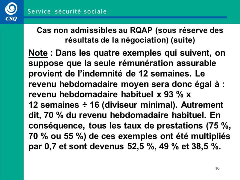 40 Cas non admissibles au RQAP (sous réserve des résultats de la négociation) (suite) Note : Dans les quatre exemples qui suivent, on suppose que la seule rémunération assurable provient de lindemnité de 12 semaines.
