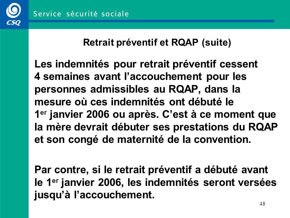 48 Retrait préventif et RQAP (suite) Les indemnités pour retrait préventif cessent 4 semaines avant laccouchement pour les personnes admissibles au RQAP, dans la mesure où ces indemnités ont débuté le 1 er janvier 2006 ou après.