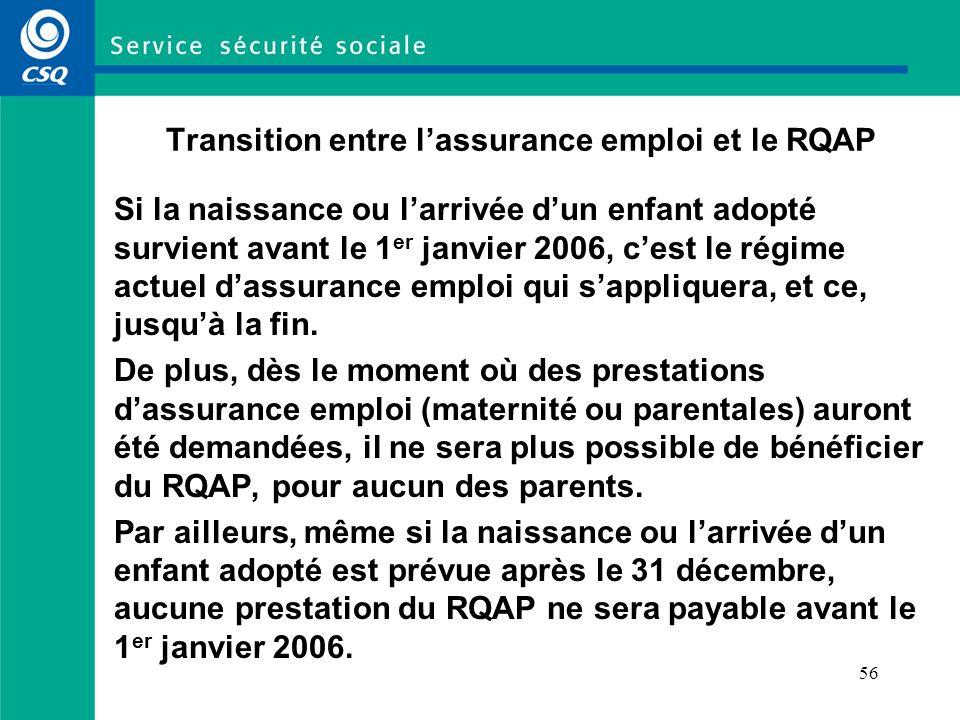 56 Transition entre lassurance emploi et le RQAP Si la naissance ou larrivée dun enfant adopté survient avant le 1 er janvier 2006, cest le régime actuel dassurance emploi qui sappliquera, et ce, jusquà la fin.