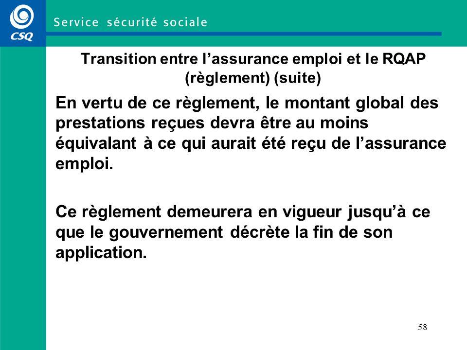 58 Transition entre lassurance emploi et le RQAP (règlement) (suite) En vertu de ce règlement, le montant global des prestations reçues devra être au moins équivalant à ce qui aurait été reçu de lassurance emploi.