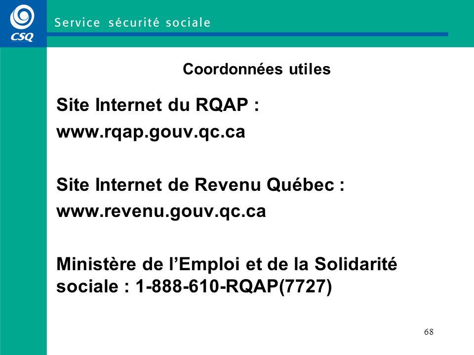 68 Coordonnées utiles Site Internet du RQAP : www.rqap.gouv.qc.ca Site Internet de Revenu Québec : www.revenu.gouv.qc.ca Ministère de lEmploi et de la Solidarité sociale : 1-888-610-RQAP(7727)