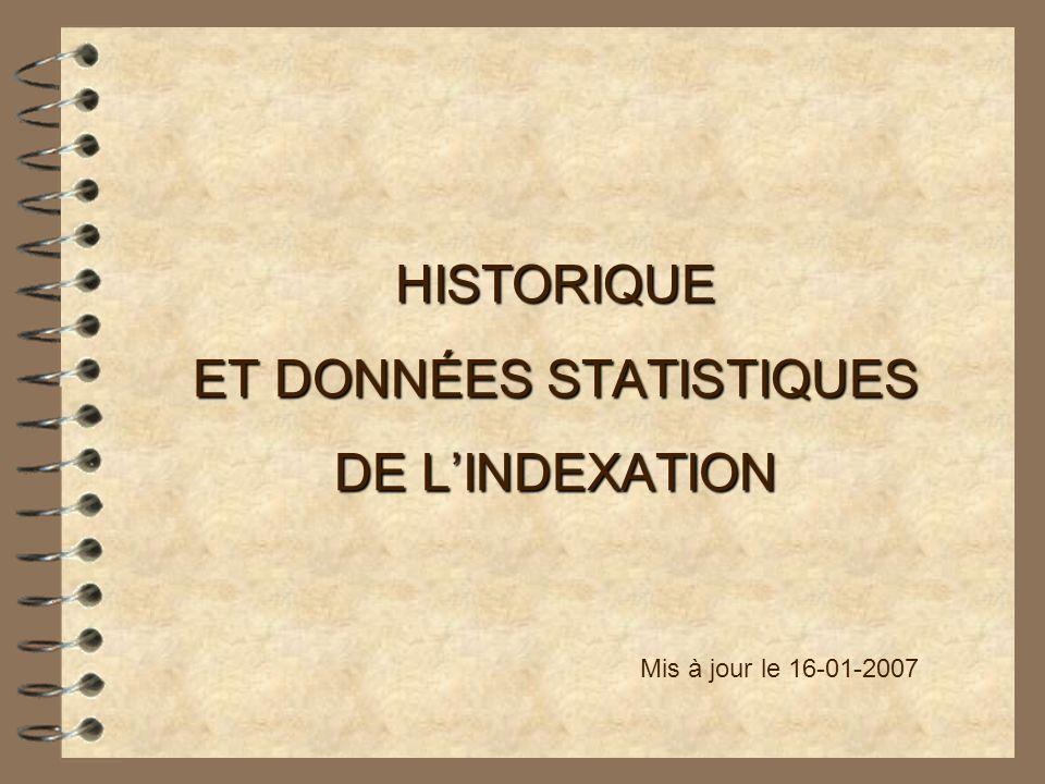 HISTORIQUE ET DONNÉES STATISTIQUES DE LINDEXATION Mis à jour le 16-01-2007
