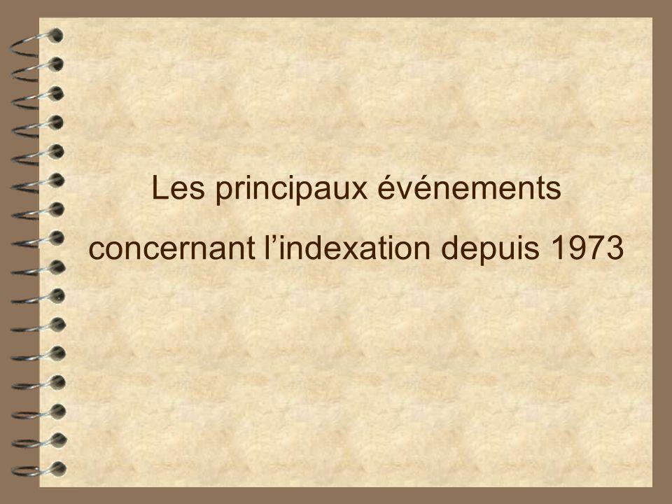 Les principaux événements concernant lindexation depuis 1973