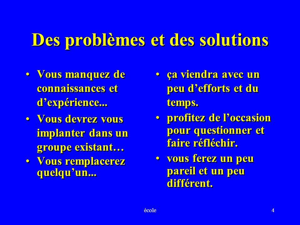 école4 Des problèmes et des solutions Vous manquez de connaissances et dexpérience...