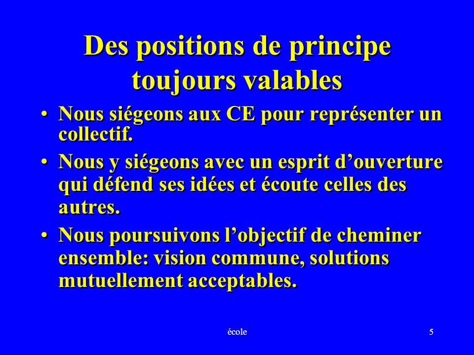 école5 Des positions de principe toujours valables Nous siégeons aux CE pour représenter un collectif.