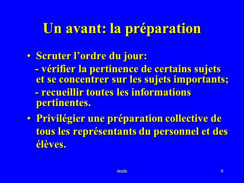 école9 Un avant: la préparation Scruter lordre du jour: - vérifier la pertinence de certains sujets et se concentrer sur les sujets importants; - recueillir toutes les informations pertinentes.