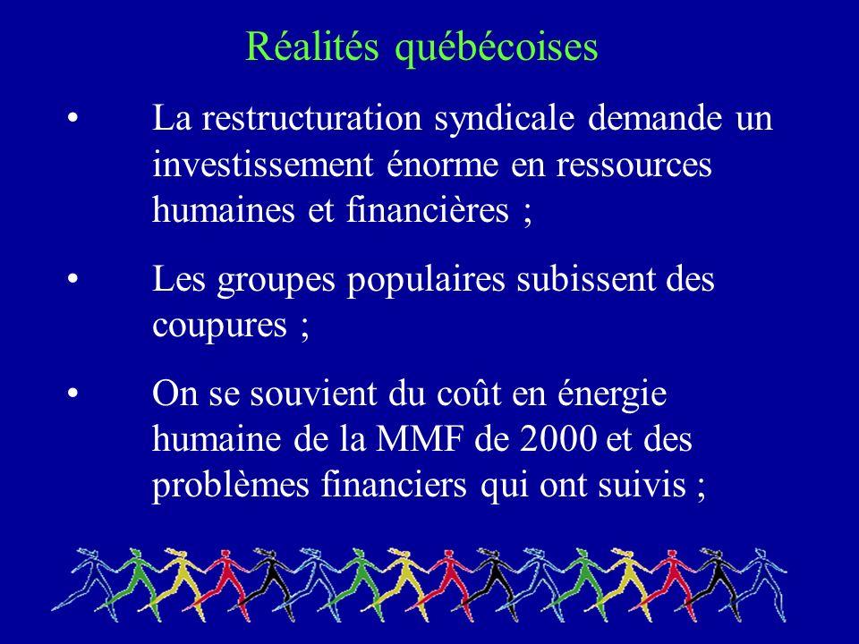 Réalités québécoises La restructuration syndicale demande un investissement énorme en ressources humaines et financières ; Les groupes populaires subissent des coupures ; On se souvient du coût en énergie humaine de la MMF de 2000 et des problèmes financiers qui ont suivis ;