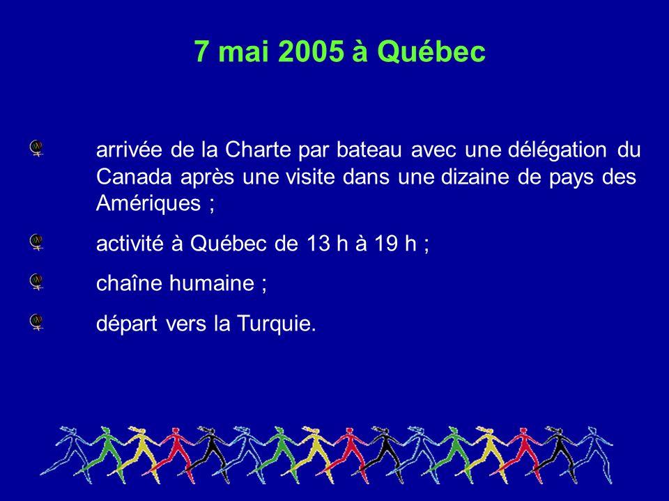 7 mai 2005 à Québec arrivée de la Charte par bateau avec une délégation du Canada après une visite dans une dizaine de pays des Amériques ; activité à Québec de 13 h à 19 h ; chaîne humaine ; départ vers la Turquie.