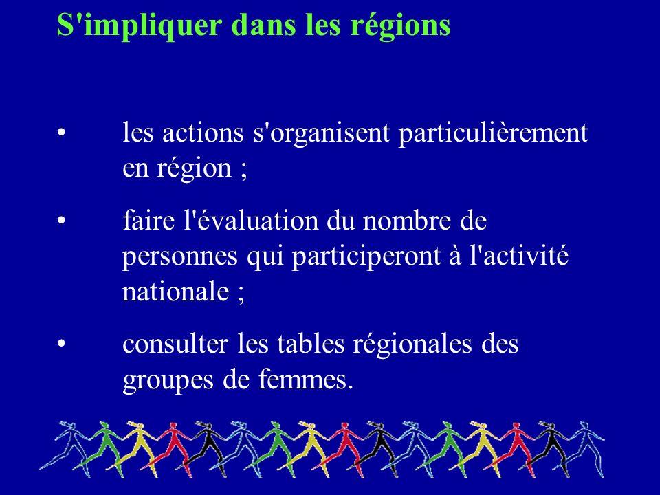 S impliquer dans les régions les actions s organisent particulièrement en région ; faire l évaluation du nombre de personnes qui participeront à l activité nationale ; consulter les tables régionales des groupes de femmes.