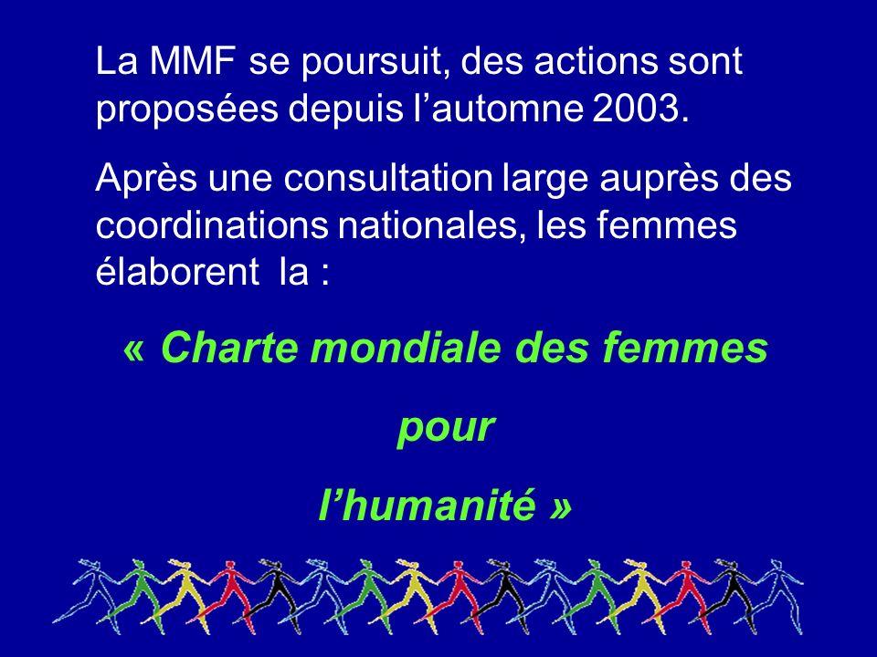La MMF se poursuit, des actions sont proposées depuis lautomne 2003.